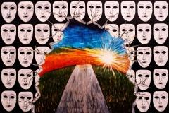 EMOZIONI Storie di vita: falsità. Acrilico su tela 100 x 150 cm