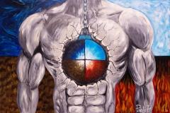 EMOZIONI Uomo VS Natura Acrilico su tela 100 x 150 cm